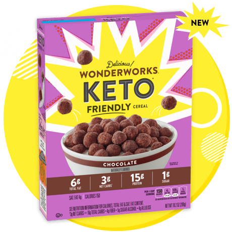 A purple-colored box of delicious Chocolate Wonderworks Keto Friendly Cereal